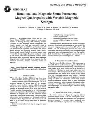 Primary view of object titled 'Rotational and magnetic shunt permanent magnet quadrupoles with variable magnetic strength'.