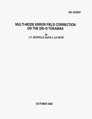 Primary view of object titled 'MULTI-MODE ERROR FIELD CORRECTION ON THE DIII-D TOKAMAK'.