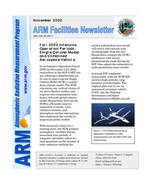 Primary view of object titled 'Atmospheric Radiation Measurement Program facilities newsletter, November 2002.'.