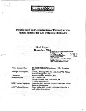 Primary view of object titled 'Development and optimization of porous carbon papers suitable for gas diffusion electrodes. Final report, December 2000'.