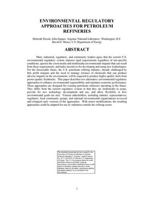 Primary view of object titled 'Environmental regulatory approaches for petroleum refineries.'.