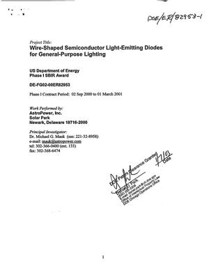 Primary view of object titled 'Wire-shaped semiconductor light-emitting diodes for general-purpose lighting'.