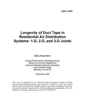 Primary view of object titled 'Longevity of duct tape in residential air distribution systems: 1-D, 2-D, and 3-D joints'.