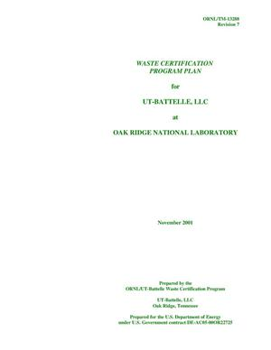 Primary view of object titled 'WASTE CERTIFICATION PROGRAM PLAN - REVISION 7'.