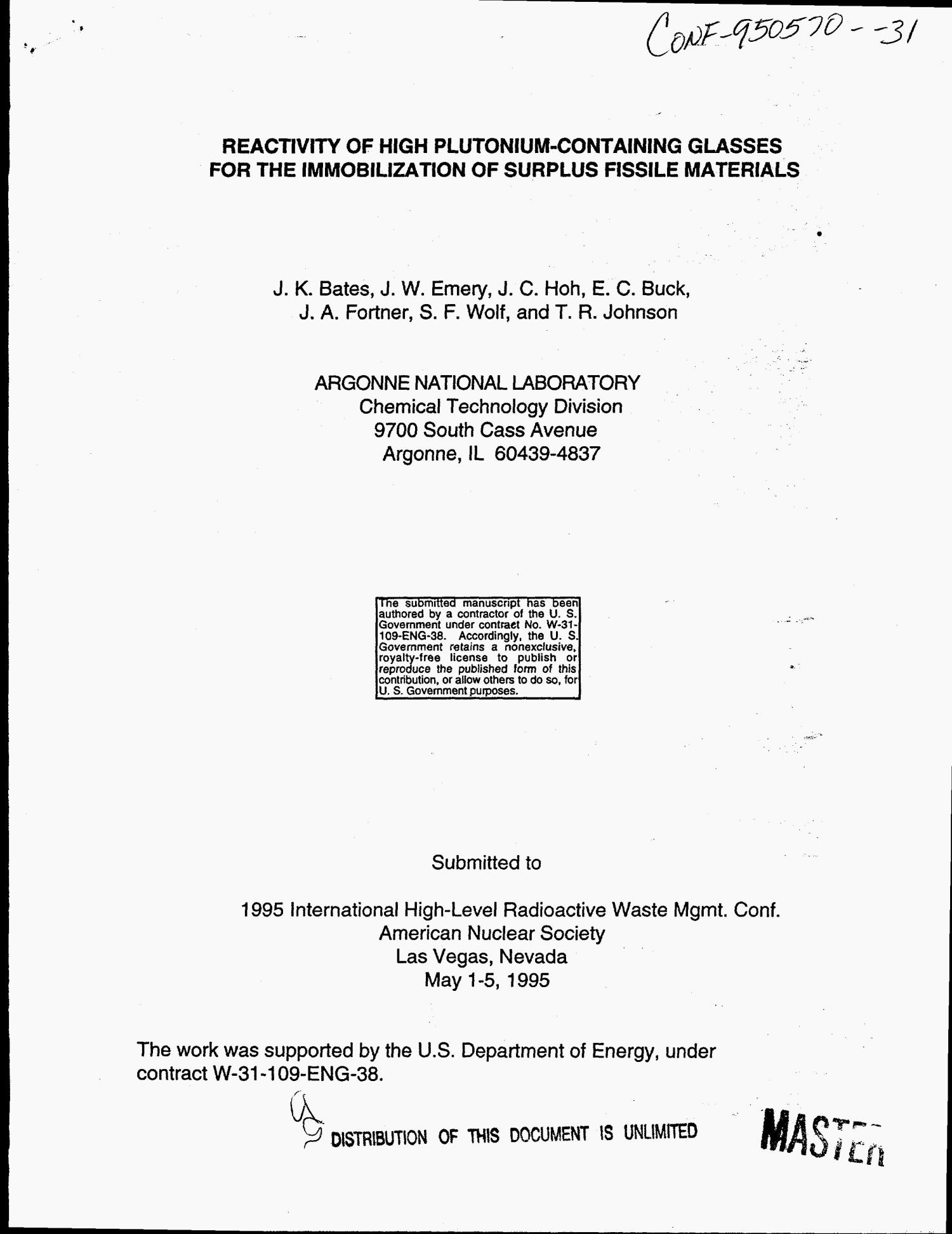 Reactivity of high plutonium-containing glasses for the immobilization of surplus fissile materials                                                                                                      [Sequence #]: 1 of 9