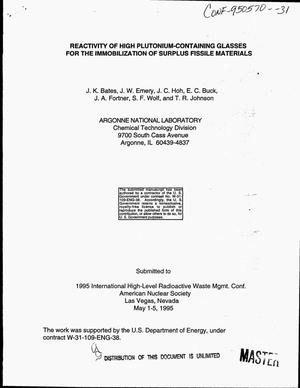Primary view of object titled 'Reactivity of high plutonium-containing glasses for the immobilization of surplus fissile materials'.