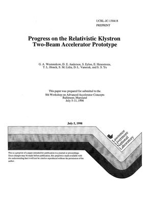 Primary view of object titled 'Progress on the relativistic klystron two-beam accelerator prototype'.