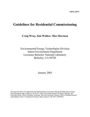 Primary view of object titled 'Guidelines for residential commissioning'.