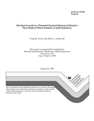 Primary view of object titled 'Thermal chemical-mechanical reactive flow model of shock initiation in solid explosives'.