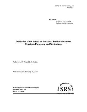 Primary view of object titled 'Evaluation of the Effects of Tank 50H Solids on Dissolved Uranium, Plutonium and Neptunium'.