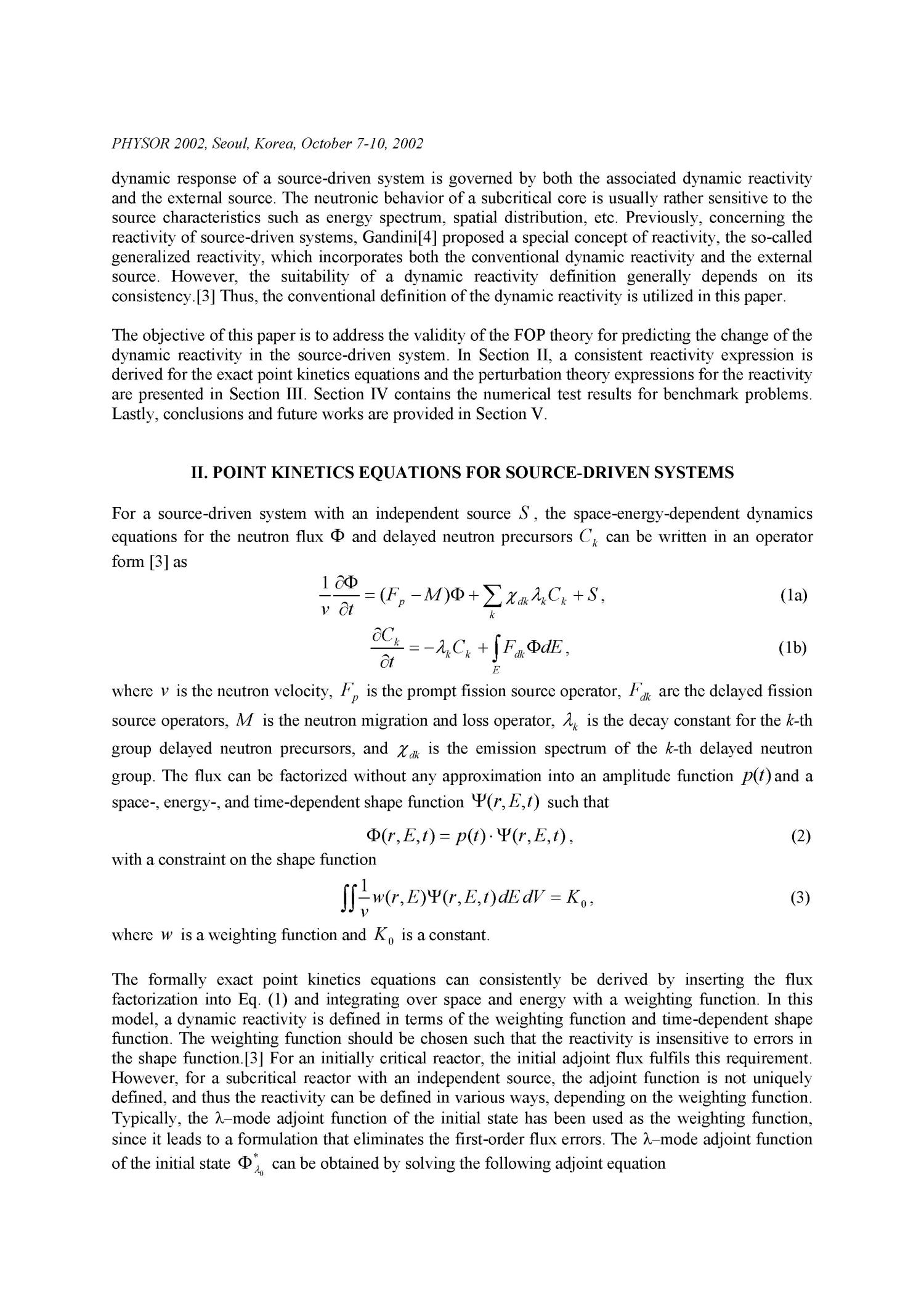 Reactivity estimation for source-driven systems using first-order perturbation theory.                                                                                                      [Sequence #]: 2 of 11