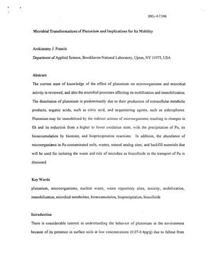 Primary view of object titled 'MICROBIAL TRANSFORMATIONS OF PLUTONIUM AND IMPLICATIONS FOR ITS MOBILITY.'.