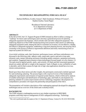 Primary view of object titled 'TECHNOLOGY ROADMAPPING FOR IAEA SEALS.'.