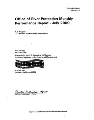 Primary view of object titled 'Office of River Protection (ORP) Monthly Performance Report for July 2000'.