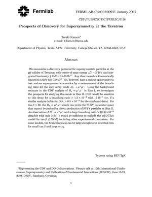 Primary view of object titled 'Prospects of discovery for supersymmetry at the Tevatron'.