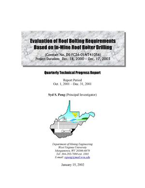 Primary view of object titled 'EVALUATION OF ROOF BOLTING REQUIREMENTS BASED ON IN-MINE ROOF BOLTER DRILLING'.