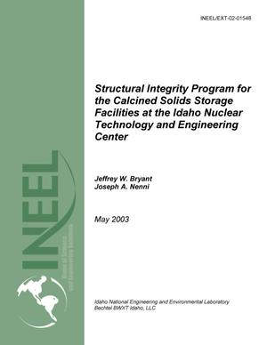 Primary view of object titled 'Structural Integrity Program for the Calcined Solids Storage Facilities at the Idaho Nuclear Technology and Engineering Center'.