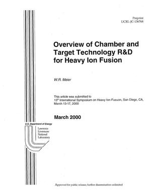 Primary view of object titled 'Overview of Chamber and Target Technology R&D for Heavy Ion Fusion'.