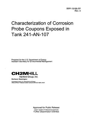 Primary view of object titled 'CHARACTERIZATION OF CORROSION PROBE COUPONS EXPOSED IN TANK 241-AN-107'.