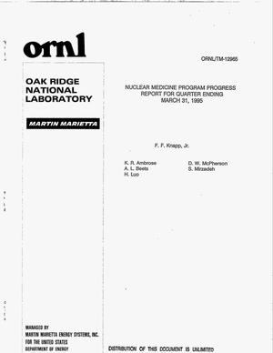 Primary view of object titled 'Nuclear medicine program progress report for quarter ending March 31, 1995'.