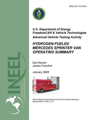 Primary view of object titled 'Advanced Vehicle Testing Activity: Hydrogen-Fueled Mercedes Sprinter Van Operating Summary - January 2003'.
