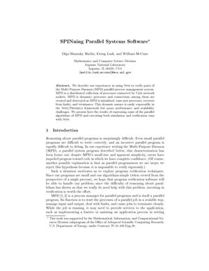 Primary view of object titled 'SPINning parallel systems software.'.