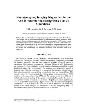 Primary view of object titled 'Nonintercepting imaging diagnostics for the APS injector during storage ring top-up operations.'.
