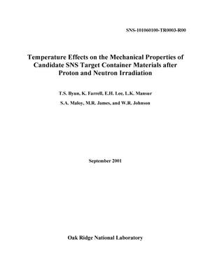 Primary view of object titled 'Temperature Effects on the Mechanical Properties of Candidate SNS Target Container Materials after Proton and Neutron Irradiation'.