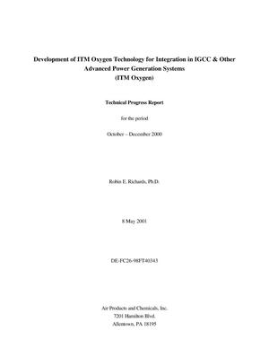 Primary view of object titled 'Development of ITM Oxygen Technology for Integration in Igcc & Other Advanced Power Generation Systems (ITM Oxygen)'.