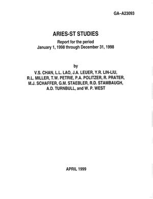 Primary view of object titled 'ARIES-ST STUDIES REPORT FOR THE PERIOD JANUARY 1, 1998 THROUGH DECEMBER 31, 1998'.