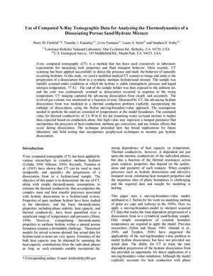 Primary view of object titled 'Use of computed X-ray tomographic data for analyzing the thermodynamics of a dissociating porous sand/hydrate mixture'.