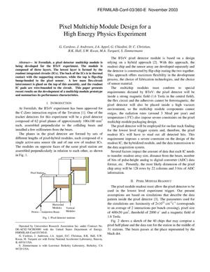 Primary view of object titled 'Pixel multichip module design for a high energy physics experiment'.