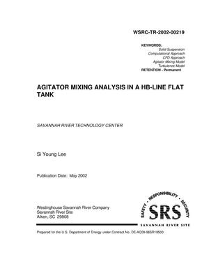 Primary view of object titled 'Agitator Mixing Analysis in a HB-Line Flat Tank'.
