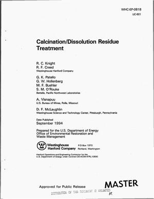 Primary view of object titled 'Calcination/dissolution residue treatment'.
