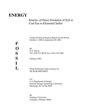 Primary view of object titled 'KINETICS OF DIRECT OXIDATION OF H2S IN COAL GAS TO ELEMENTAL SULFUR'.