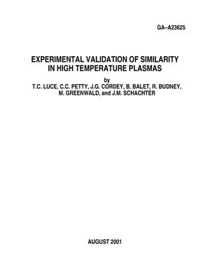 Primary view of object titled 'EXPERIMENTAL VALIDATION OF SIMILARITY IN HIGH TEMPERATURE PLASMAS'.