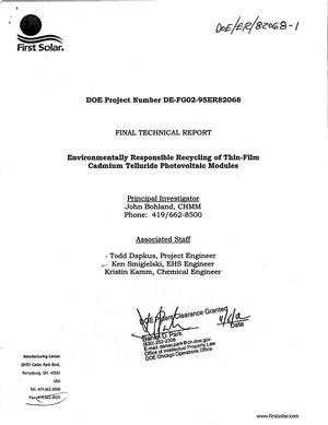 Primary view of object titled 'Environmentally responsible recycling of thin-film cadmium telluride photovoltaic modules. Final technical report'.