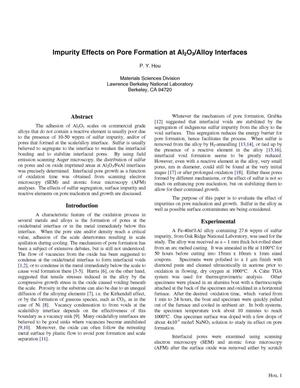 Primary view of object titled 'Impurity effects on pore formation at Al2O3/Alloy interfaces'.