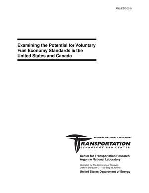 Primary view of object titled 'Examining the potential for voluntary fuel economy standards in the United States and Canada.'.