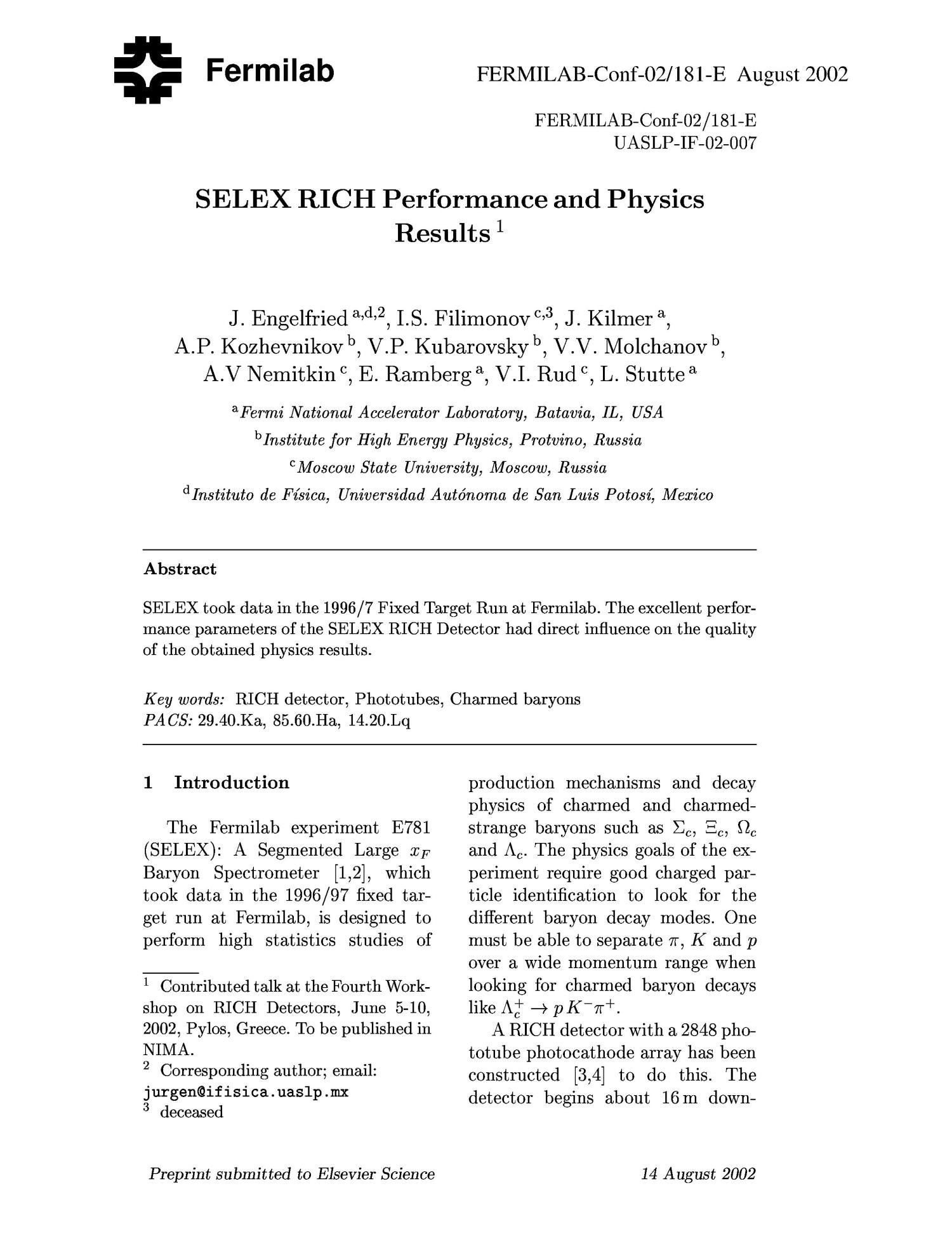 SELEX RICH performance and physics results                                                                                                      [Sequence #]: 1 of 5