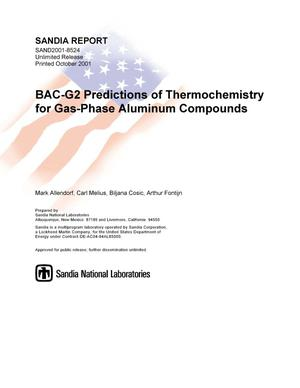 Primary view of object titled 'BAC-G2 Predictions of Thermochemistry for Gas-Phase Aluminum Compounds'.