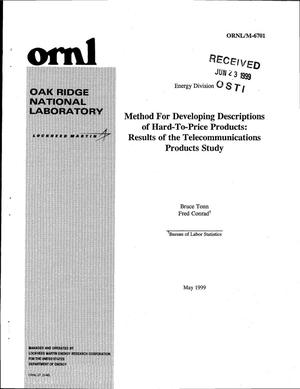 Primary view of object titled 'Method for Developing Descriptions of Hard-to-Price Products: Results of the Telecommunications Product Study'.