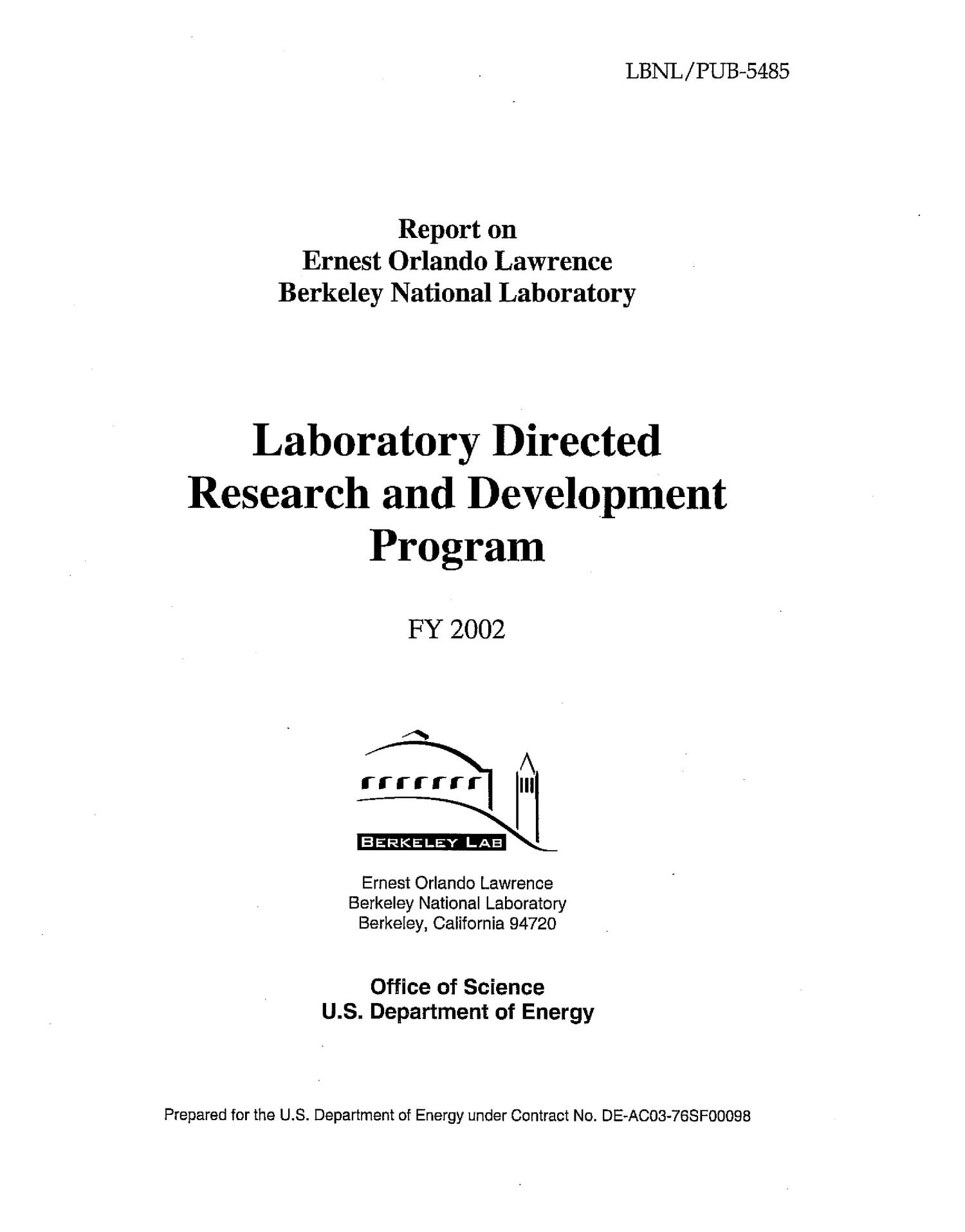 Laboratory directed research and development FY2002 report                                                                                                      [Sequence #]: 3 of 144