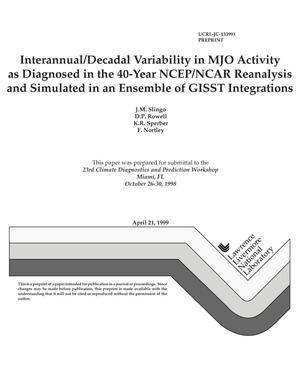 Primary view of object titled 'Interannual/decadal variability in MJO activity as diagnosed in the 40-year NCEP/NCAR reanalysis and simulated in an ensemble of GISST integrations'.
