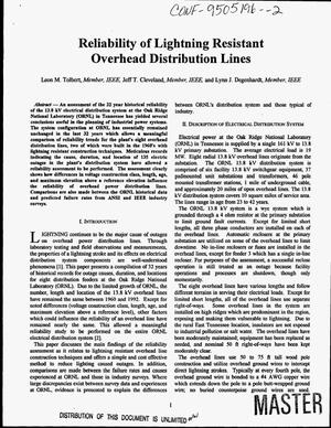 Primary view of object titled 'Reliability of lightning resistant overhead distribution lines'.