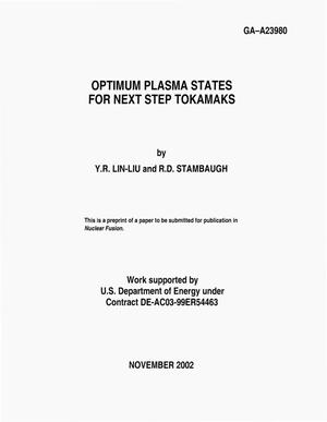 Primary view of object titled 'OPTIMUM PLASMA STATES FOR NEXT STEP TOKAMAKS'.