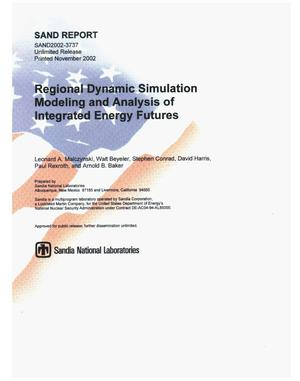 Primary view of object titled 'Regional Dynamic Simulation Modeling and Analysis of Integrated Energy Futures'.