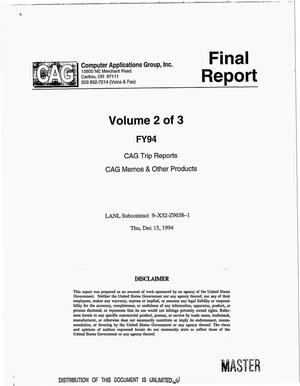 Primary view of object titled 'FY94 CAG trip reports, CAG memos and other products: Volume 2. Final report'.
