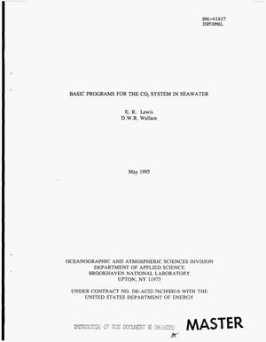 Primary view of object titled 'Basic programs for the CO{sub 2} system in seawater'.