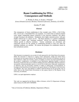 Primary view of object titled 'Beam Conditioning for FELs: Consequences and Methods'.